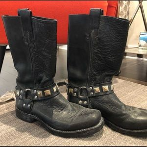Black Frye Heath Studded Harness Boots